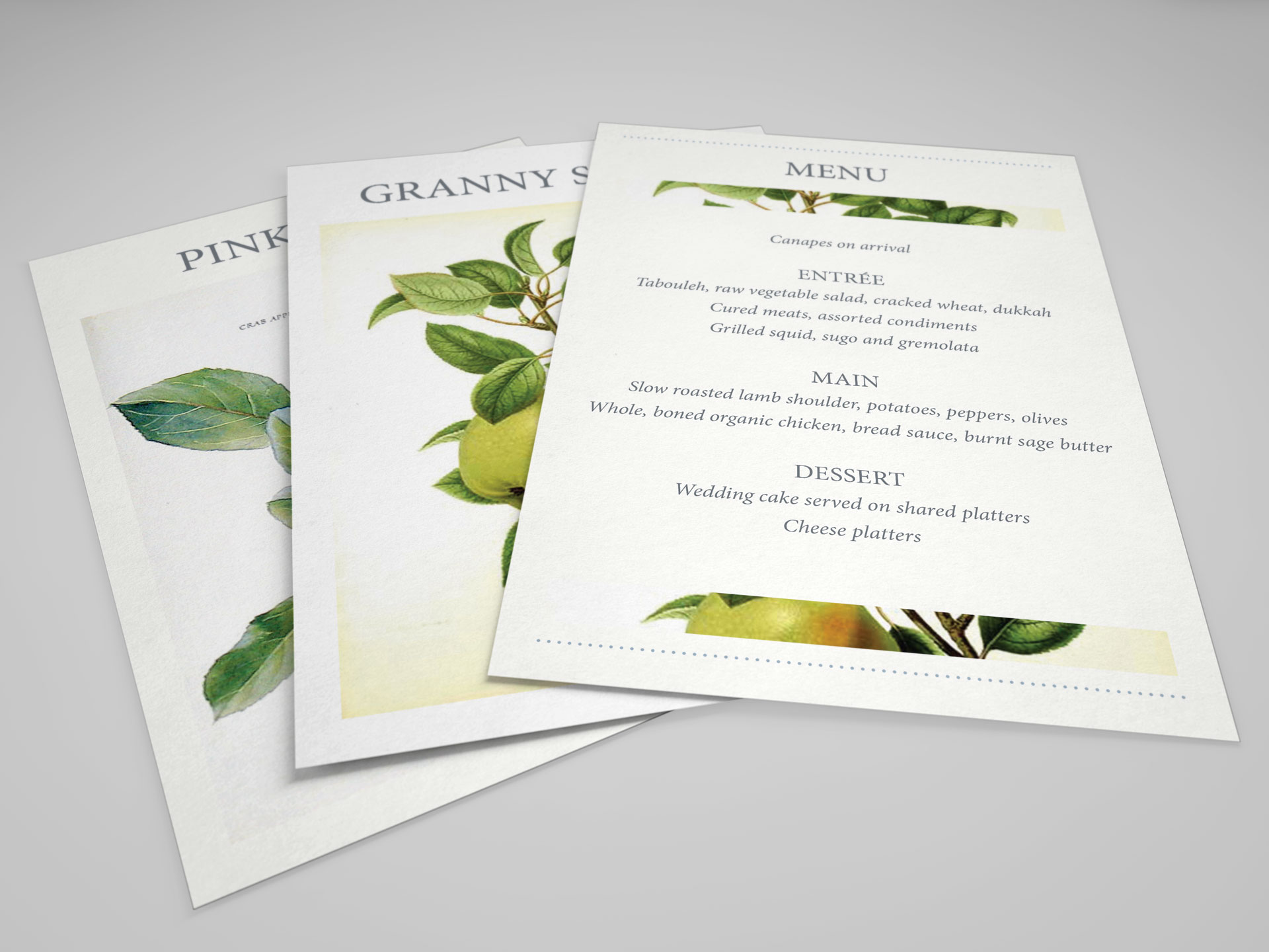 Wedding table cards and dinner menu designs