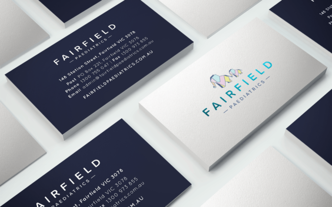 Business card design for Fairfield Paediatrics brand identity collateral